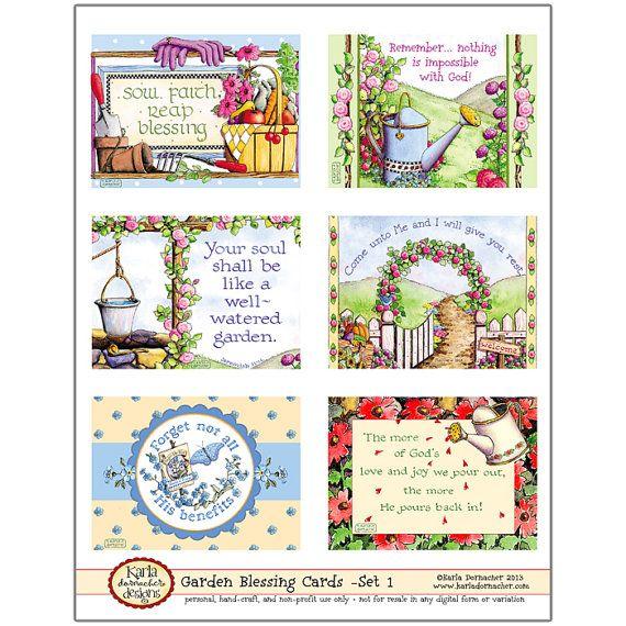 Benedizione schede - giardino tema Set-1 digitale stampabile ClipArt Crafting Christian Bibbia versetto scritture religiose KD130