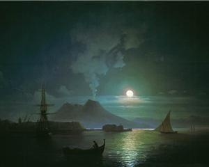 The Bay of Naples at moonlit night. Vesuvius - Ivan Aivazovsky, c.1870