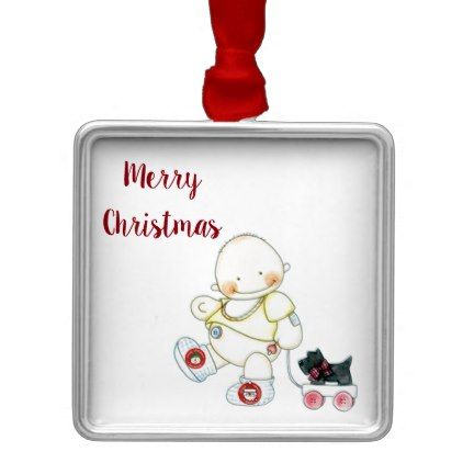 BABY PULLS WAGON CHRISTMAS ORNAMENT - baby shower ideas party babies newborn gifts