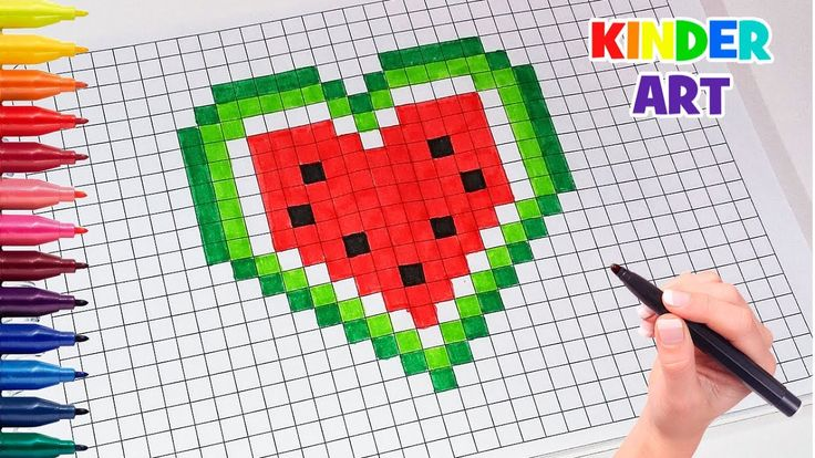 Рисунки по клеточкамСердце-арбуз | How to draw a watermelon heart Pixel...