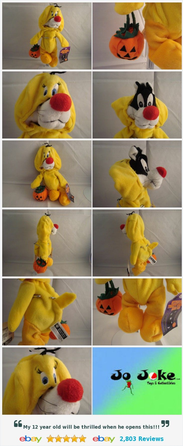 "WARNER BROS STUDIO STORE-SYLVESTER AS TWEETY BIRD-9""-BEAN PLUSH-NEW/TAGS-RARE"