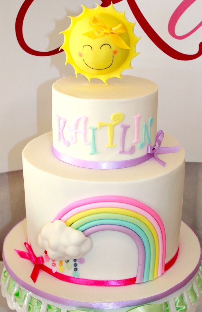 Beautiful cake at a Pastel Rainbow 3rd birthday party via Kara's Party Ideas KarasPartyIdeas.com Supplies, cake, cupcakes, recipes, printables, and more! #rainbowparty #pastel #cake