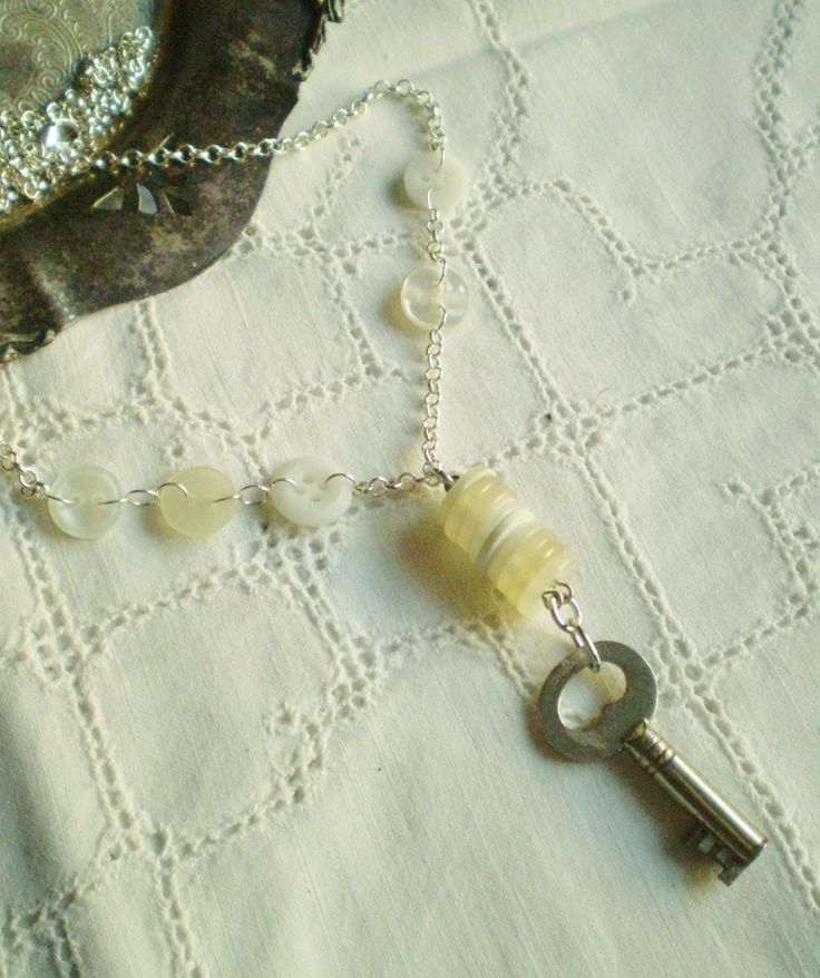 Repurposed Button Necklace with a Vintage Skeleton Key - Shabby Chic, Boho Chic, feminine steampunk, upcycled, eco friendly, novelty by etceterahandcrafted on Etsy