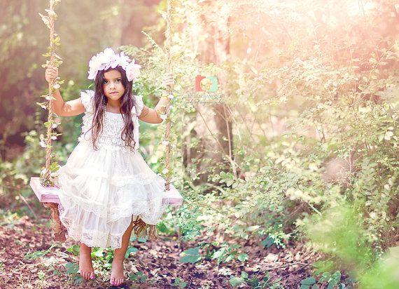 ivory flower girl dress flower girl dresses  by PoshPeanutKids