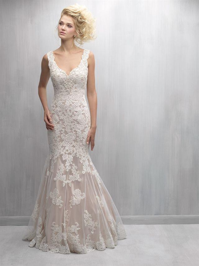 Scalloped V Neck Lace Fit And Flare Wedding Dress Kleinfeld Bridal Madison James Wedding Dress Fit And Flare Wedding Dress Wedding Dresses Kleinfeld