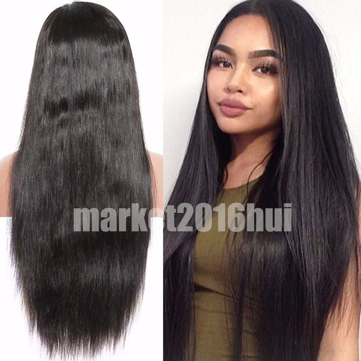 7A Brazilian Full Lace Human Hair Wigs Silk Top Hair With Baby Hair Around Black #New #HumanHairWigs