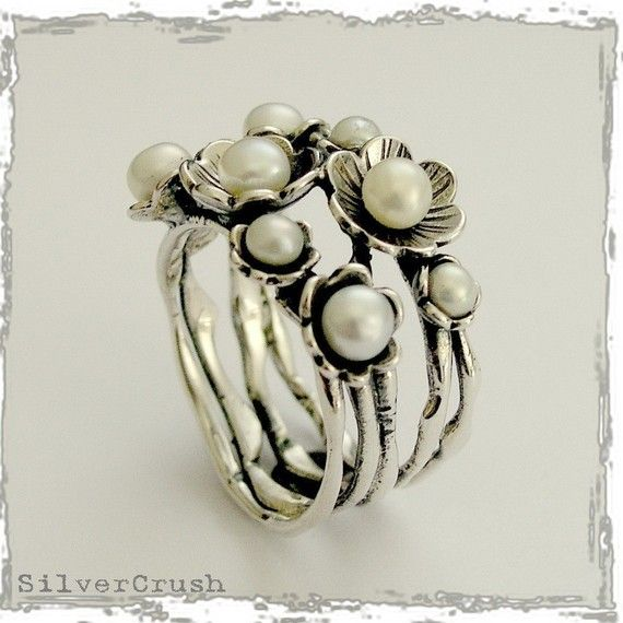 Floral sterling silver ring with fresh water pearls by silvercrush, $108.00