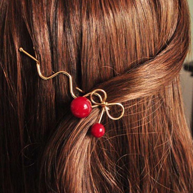 Fashion Girl Red Cherry Shaped Bowknot Hairpin Twist Hair Clip Hair Pins Barrette Headwear Jewelry Gift acessorio para cabelo