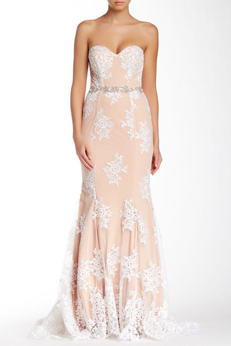 City Triangles Strapless Embroidered Jewel Waist Dress