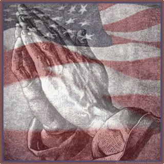 american flag with praying hands -