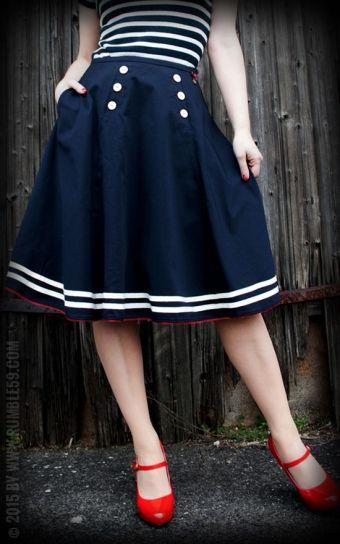 Rumble59 Tellerrock - Ahoi Sailor! &#9733 Süße 50er Jahre Sailor Mode | Premium Style &#9742 Bestell-Hotline &#9733 passende Petticoats online kaufen bei Rockabilly Rules