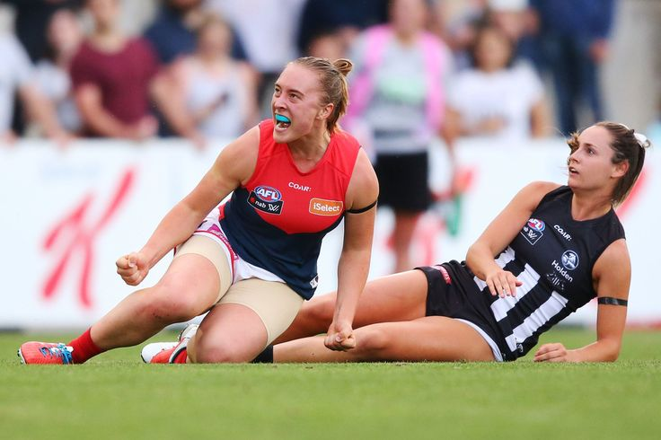 Jessica Anderson of the Demons celebrates a goal during the round two AFL Women's match between the Collingwood Magpies and the Melbourne Demons at Ikon Park on February 11, 2017 in Melbourne, Australia.