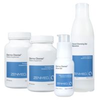 Zenmed Derma Cleanse System: Created for all skin types to help impart a clearer complexion from within. This three step system includes a herbal detoxifier supplement, a gentle cleanser and a medicated Acne treatment. Designed for long term results. Results are normally seen after about 10 days of consistent use, best results occur after 4-6 weeks. $79.97
