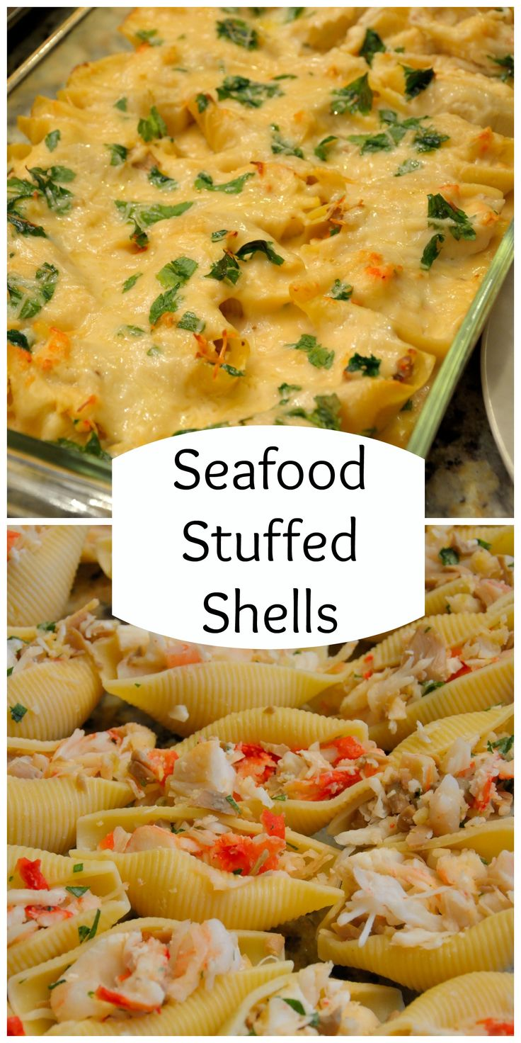 Seafood Stuffed Shells in a Sherry Cream Sauce is a dinner fit for a special occasion with buttery crab, tender shrimp and a mild cream sauce.   #stuffedshells   www.savoryexperiments.com