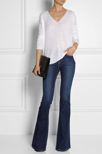 sweater's fabric & color. Also flared jeans with platforms/pumps & simple sweater