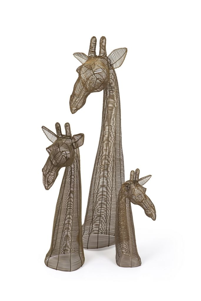 Colour Giraffe Bust - Gold Bronze - African Creative
