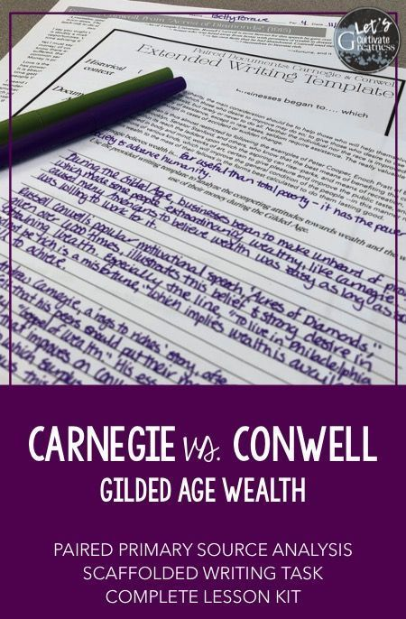 "Explore the Gilded Age attitudes towards wealth by examining Andrew Carnegies's ""Gospel of Wealth"" in this primary source extended writing complete lesson kit."