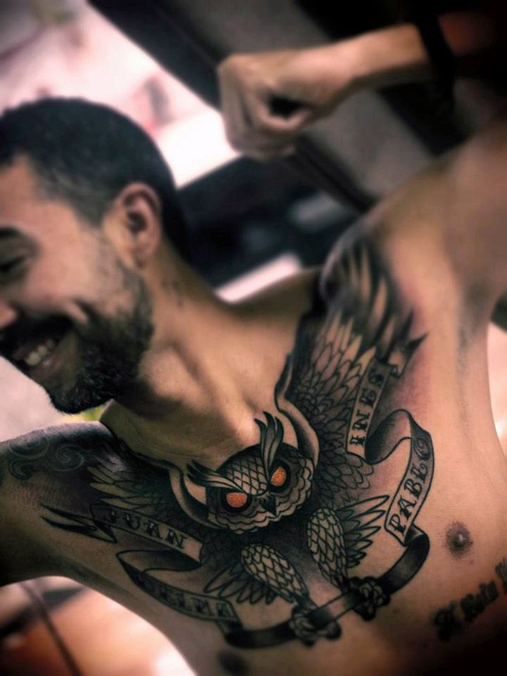http://ifltattoos.com/owl-chest-tattoo/ Owl Chest Tattoo #Chest, #MensInk, #Owl