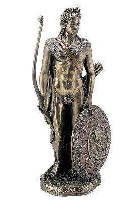 Apollo Greek God of Archery Statue Bonded Bronze Desktop Size - Embrace the grace and beauty of archery with this statue of the Greek god, Apollo.  It's incredible details, from Apollo's handsome face to the intricately patterned shield, make this statue a perfect gift for archers and mythology fans.  $69.95