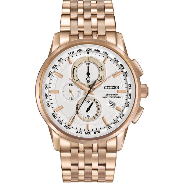 Citizen Men's AT8113-55A Eco-Drive World Chronograph AT Watch ($488) ❤ liked on Polyvore featuring men's fashion, men's jewelry, men's watches, beige, citizen mens watches, citizen eco drive mens watches, mens stainless steel watches, mens chronograph watch and mens watches