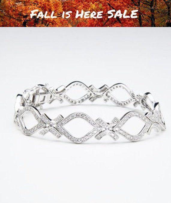 743d5d995a0 Diamond Tennis Bracelet 1.22 Carat 14K White Gold Pave Setting 7 inch by  Luxinelle