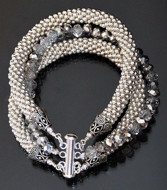 3 Strand Silver Metal Bead Crochet Rope and Crystal Bangle Bracelet