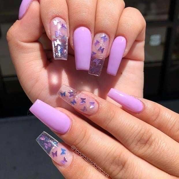 Purple Glitter Butterfly Acrylics In 2020 Long Square Acrylic Nails Purple Acrylic Nails Acrylic Nail Designs Coffin