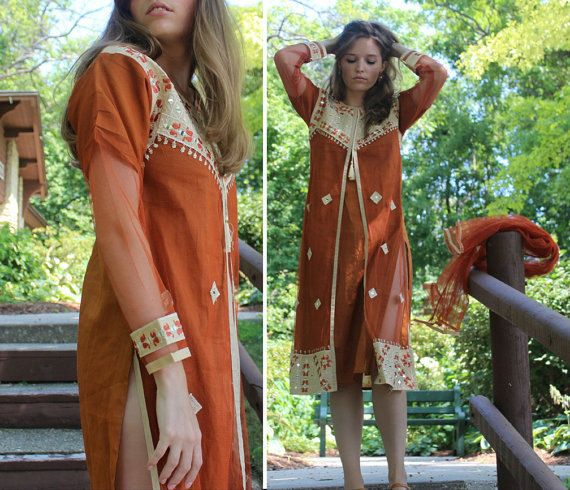 Vintage Ethnic INDIAN SARI Wedding Dress SHEATH Tunic Traditional Woman 70s Enchanting Paprika Pakistan - India Ceremony Festivals Frock S/M by HarlowGirls on Etsy