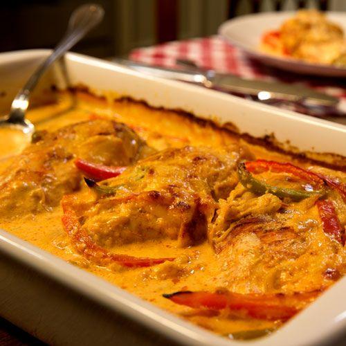Hähnchen in Paprika-Sahne-Soße