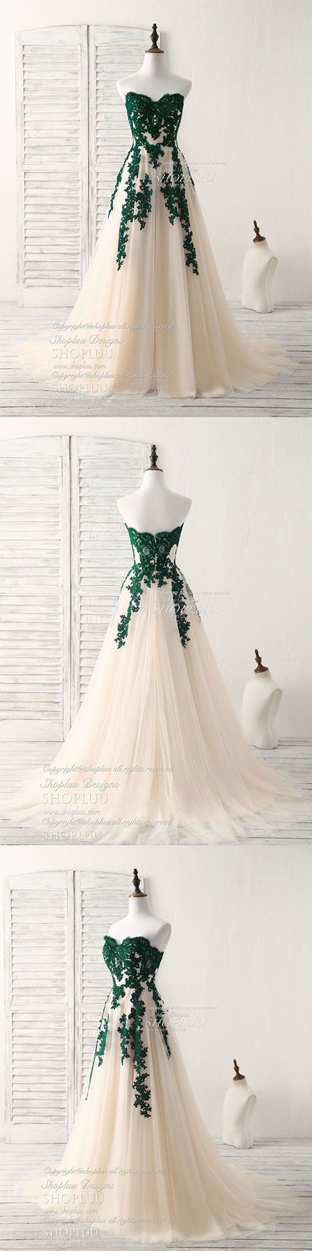 A-line sweetheart tulle lace applique green long prom dress, bridesmaid dress