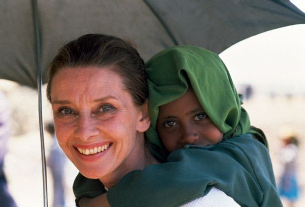 Soon after becoming a UNICEF ambassador, Audrey Hepburn went on a mission to Ethiopia, where years of drought and civil strife had caused terrible famine. Still beautiful after all those years... (@Kristin Tosch)