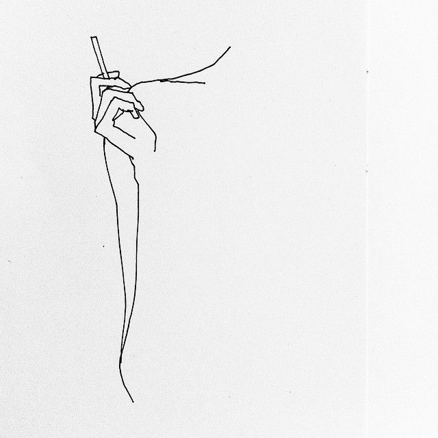 Drawing of collarbones, cigarette, and poise.