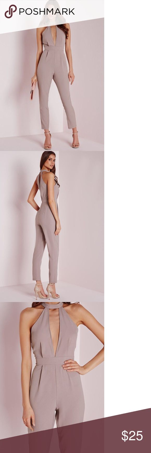 """Missguided Choker Split Front Jumpsuit in Mushroom Flaunt what you got in this seriously smokin' nude jumpsuit with halterneck feature and plunging split front to the top this jumpsuit is totally on point. Team with strappy heels and matching clutch for a jaw to the floor finish. Brand is from U.K., and is a U.K. 4, which is normally a US 0, but this brand is cut on the small side and is more like a 00. Measurements are approximate at Bust 32"""", waist 23"""" and hips 33"""".95% polyester 5%…"""