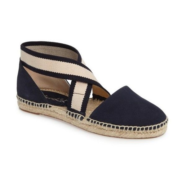 Women's Splendid Jamie Strappy Espadrille Flat ($98) ❤ liked on Polyvore featuring shoes, flats, navy, criss cross flats, espadrilles shoes, espadrille flats, navy flats and strappy flat shoes