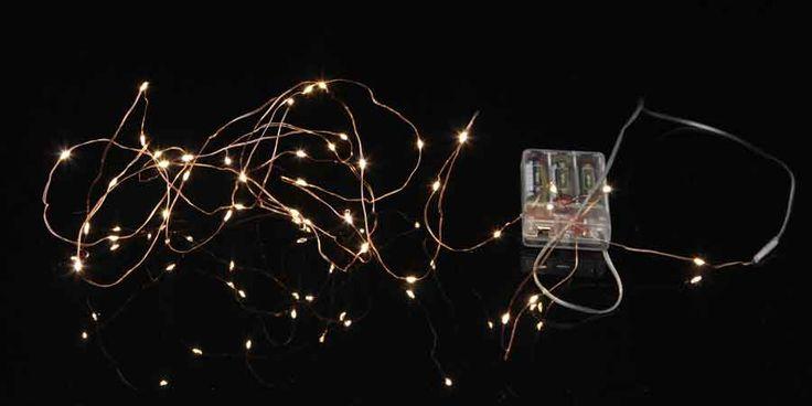 Lyskæde batteri kobberfarvet 40 LED klar hvid lysdioder med timer