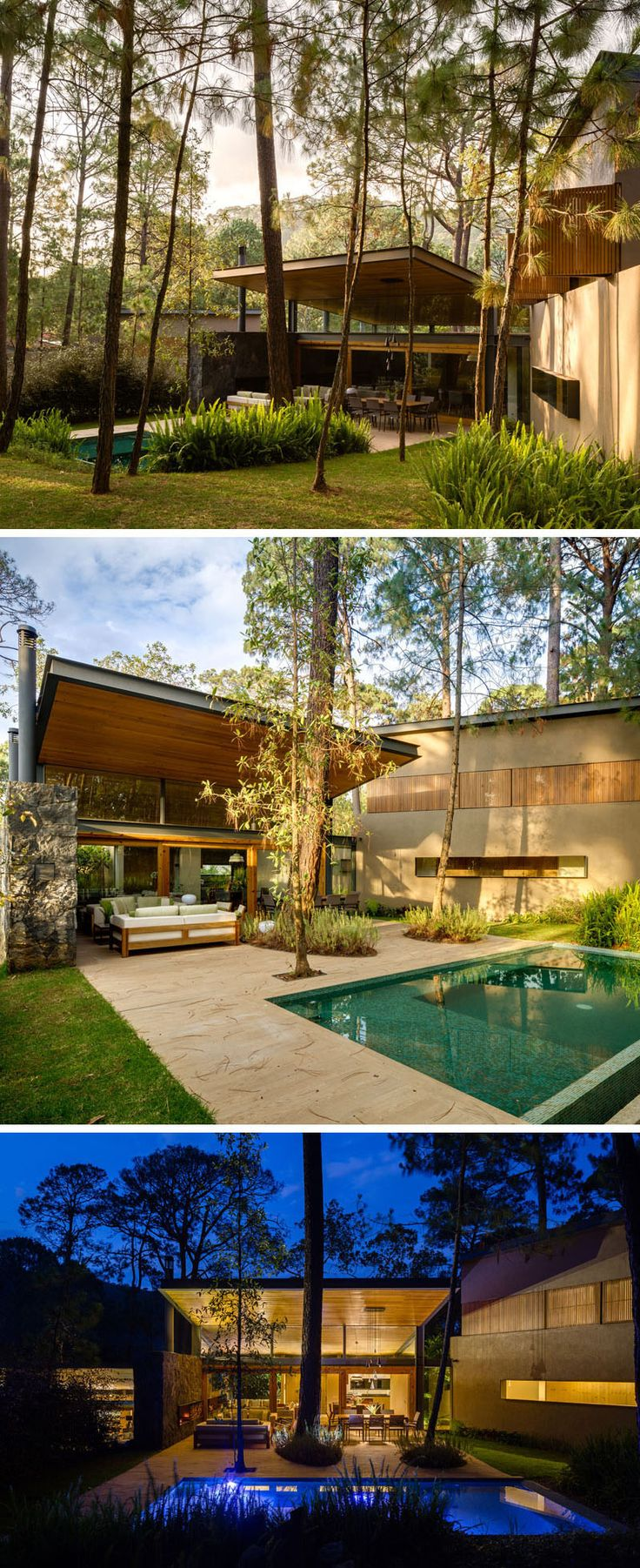 18 Modern House In The Forest // This house was part of a development designed to work with the environment instead of against it and to compliment the surrounding forest vegetation.