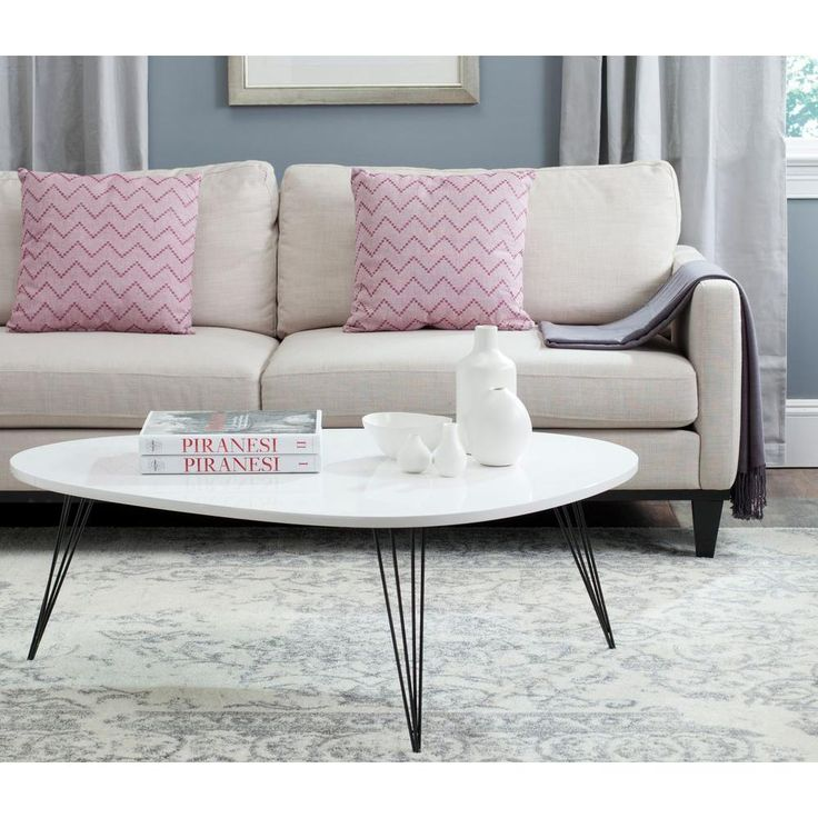 Wynton Lacquer 43.31 in. Iron Coffee Table in White