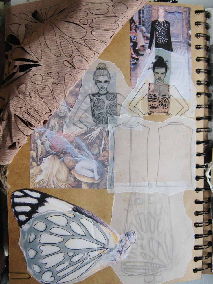 Fashion Sketchbook - fashion drawings & ideas; butterfly pattern explorations - the fashion design process