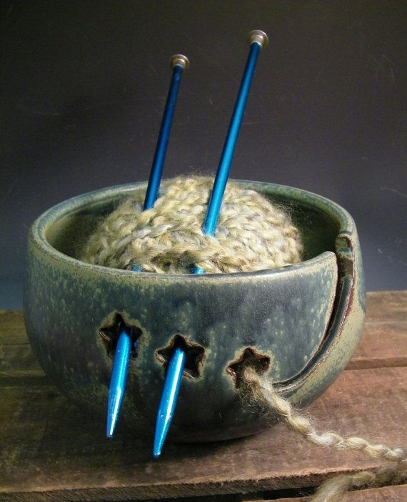 Don't Come Unravelled Yarn Bowl with Hearts  by LorettaWrayPottery