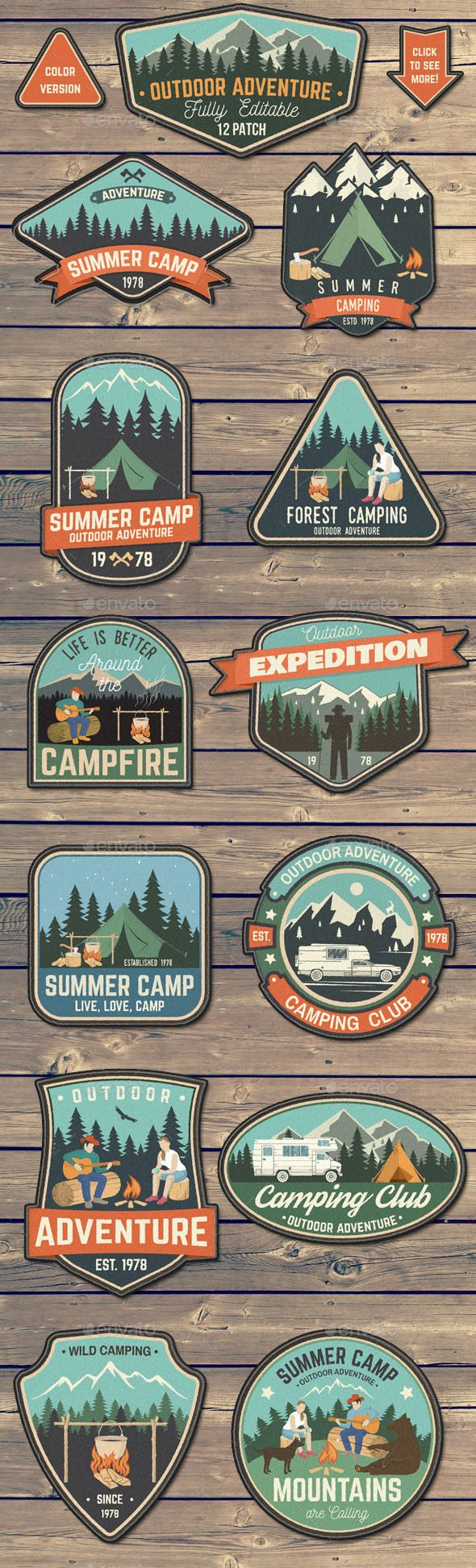 Outdoor Adventure Patches Templates PSD, Vector EPS, AI Illustrator – Download: …