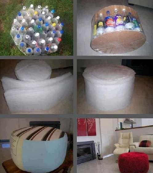 Pouf réalisé à partir de bouteilles en plastique, de carton et de mousse. Le tout est ensuite recouvert de tissu.