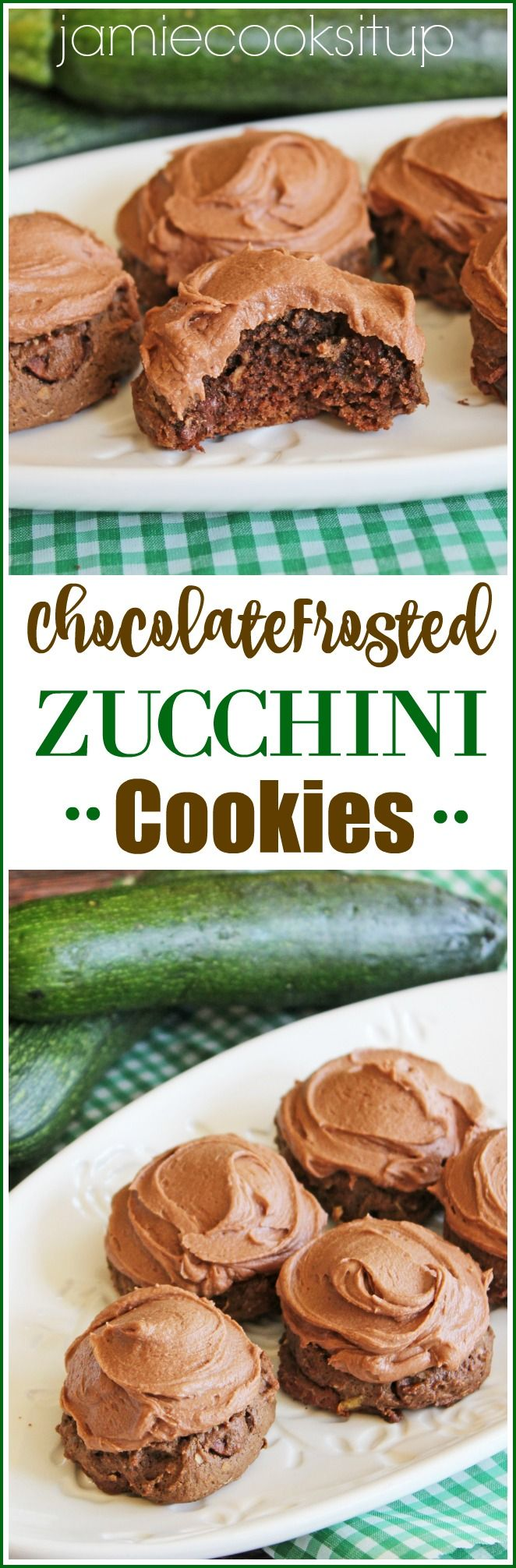 Chocolate Frosted Zucchini Cookies Jamie Cooks It Up! A soft, cake like cookie slathered in a silky chocolate buttercream. A great way to use up that garden zucchini!