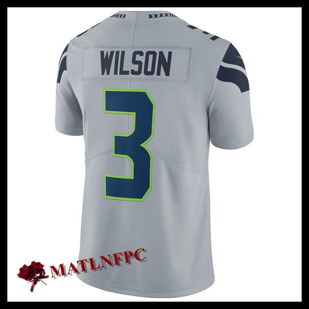 Maillot de NFL Seattle Seahawks pas cher, Maillot NFL Russell Wilson Seattle Seahawks Gris Homme