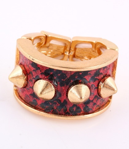 """Stretch Ring / surface: 0.6""""H / red artificial leather surface / gold color / lead & nickel compliant      $10.50"""