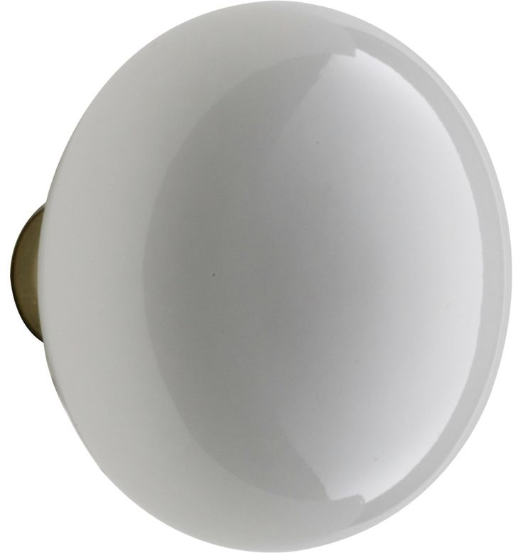 White Porcelain Door Knob Brass Base, 7 Finishes   C5240