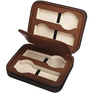 Travel: Four-slot #watch #case for carrying wrist watches on the go & #travel.  Brown, leather, $19. Great gift for men by Overstock.