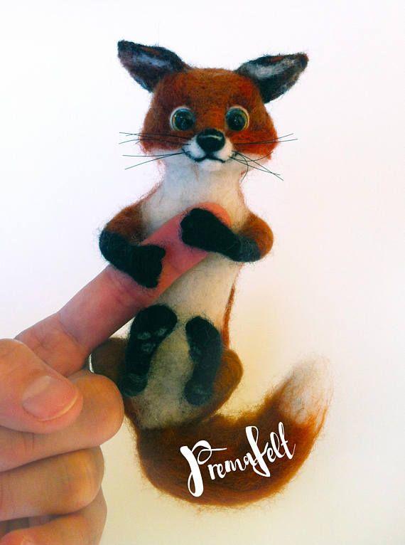 Needle felted foxfelted animal cute miniature