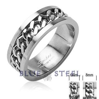 PIN IT TO WIN IT! Gray Streak: This ring is a sleek stainless steel band that features a tough looking chain for a dash of refined style.   $29.99  www.buybluesteel.com