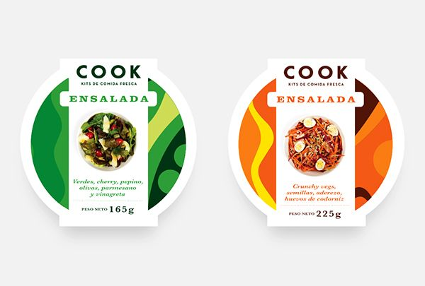 """The Uruguayan fresh food brand called COOK launched its new ready to eat salads. His first two mix are """"PARMA"""" and """"CAMPO"""". We designed a new packaging with cool artwork with much parmesan, cherry tomatoes, arugula and lots of olive oil."""