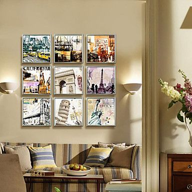 Arquitetura famosa com Montage Landscape Impressão em tela emoldurada Jogo de 9 – BRL R$ 195,85
